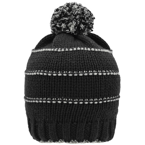 Bonnet tricot avec pompon en PET recyclé