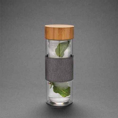 Bouteille en verre borosilicate 360 ml avec couvercle bambou