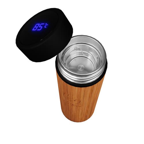 Bouteille isotherme 500 ml en bambou - double paroi acier inox
