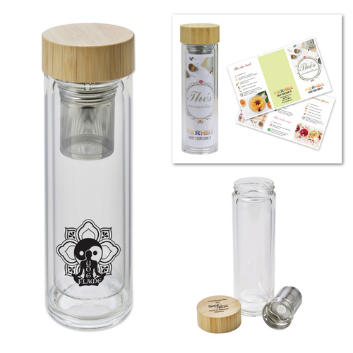 Bouteille isotherme PALAIS verre et bambou 420ml