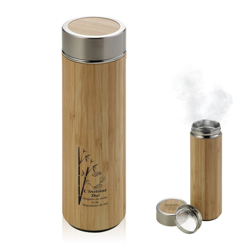 Bouteille isotherme THERMOS bambou acier 420 ml