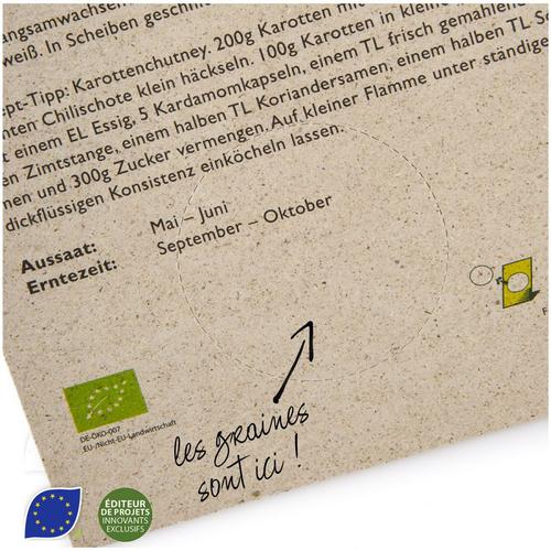 Calendrier avec feuillets ensemencés - papier à base d'herbe 100% biodégradable
