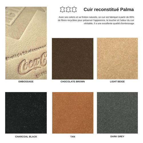 Carnet A5 rigide en cuir reconstitué PALMA - 85% de fibres recyclées