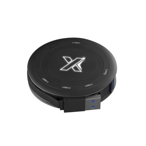 Chargeur à induction avec hub 4 ports USB 2.0, logo lumineux