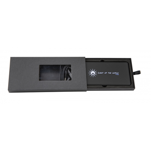 Chargeur solaire 8000 mAh avec logo lumineux et câble 3 en 1