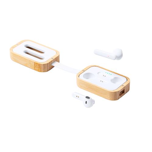 Ecouteurs bluetooth avec boîtier de chargement en bambou - sans fil