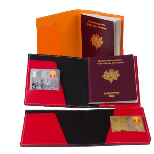 Etui passeport en cuir recyclé