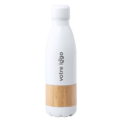 Gourde en inox avec partie en bambou, bouteille 750 ml