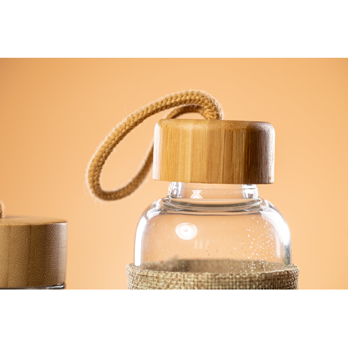 Gourde en verre 500 ml avec manchon aspect naturel - bouchon bambou