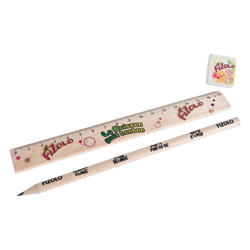 Kit règle, gomme et crayon 17cm, sans vernis, rond tête coupée