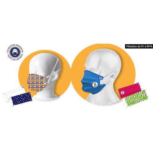 Masque barrière filtrant, certifié 50 lavages DGA-AFNOR
