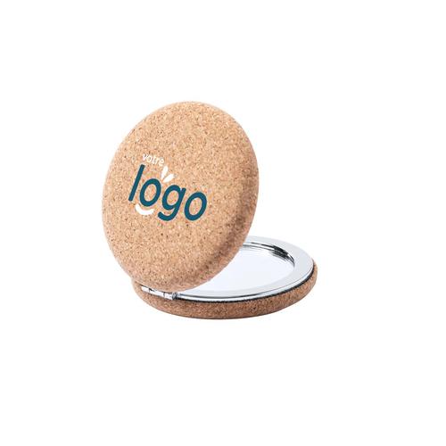 Miroir de poche recouvert de liège - miroir normal et grossissant