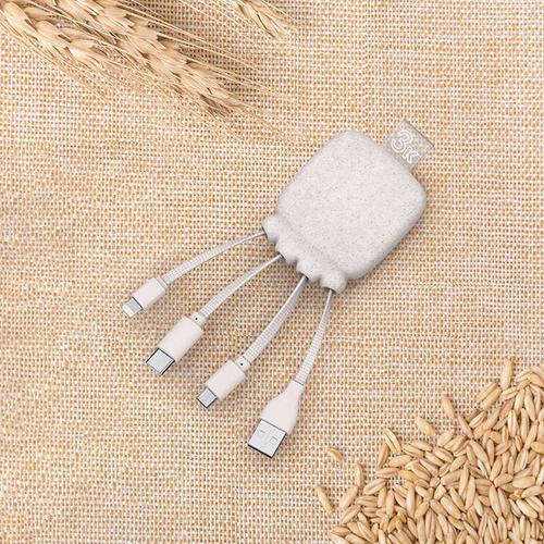 Multicâble avec Powerbank Eco 3 000 mAh en RPET et fibre de blé