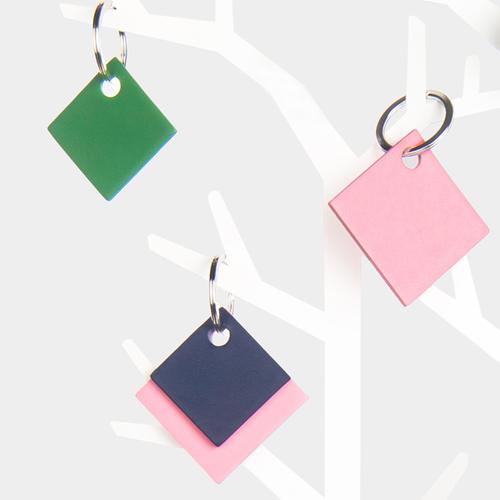 Porte clés carré double en cuir