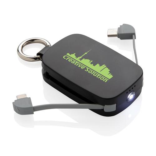 Porte clés powerbank 1 200 mAh avec multicâbles