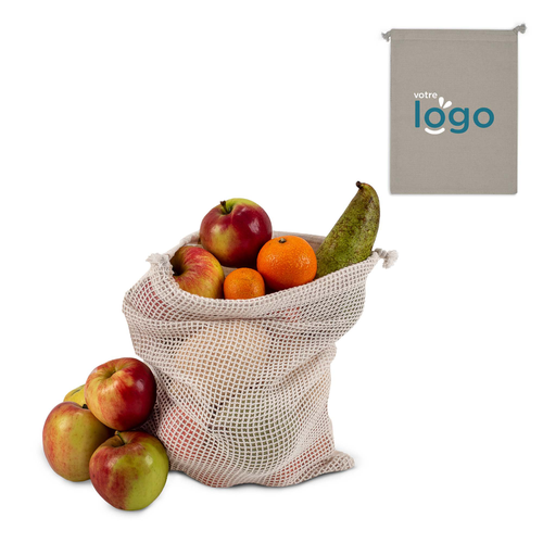 Sac filet à légumes 25x30 cm - 100% coton OEKOTEX