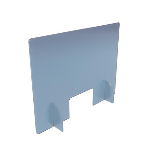 Vitre de protection passe document et pieds demi-lune 80 x 75 cm